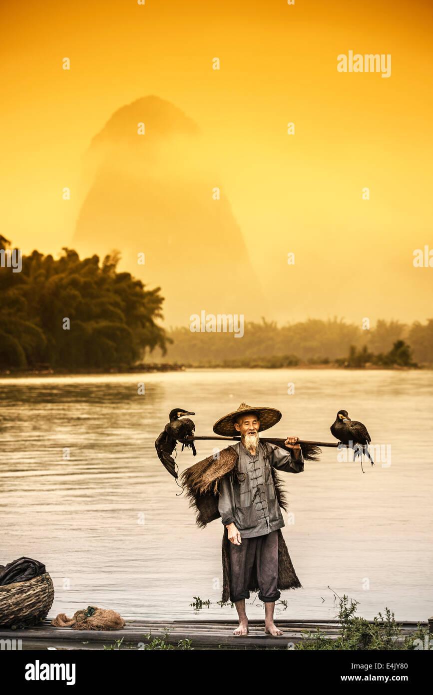 Le Cormorant fisherman et ses oiseaux sur la rivière Li à Yangshuo, Guangxi, Chine. Photo Stock