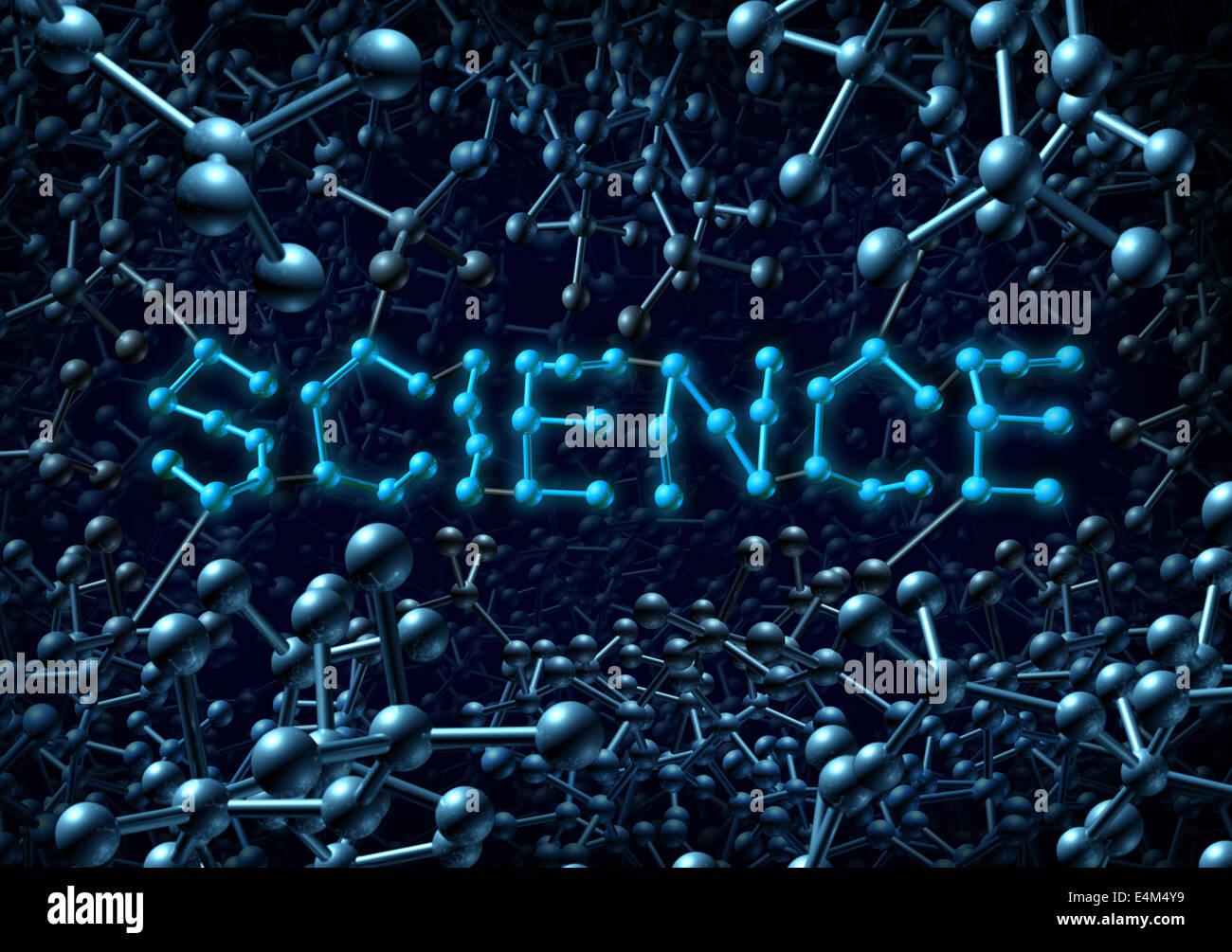Concept de la science et de la chimie comme symbole d'un groupe de molécules d'atomes en trois dimensions Photo Stock