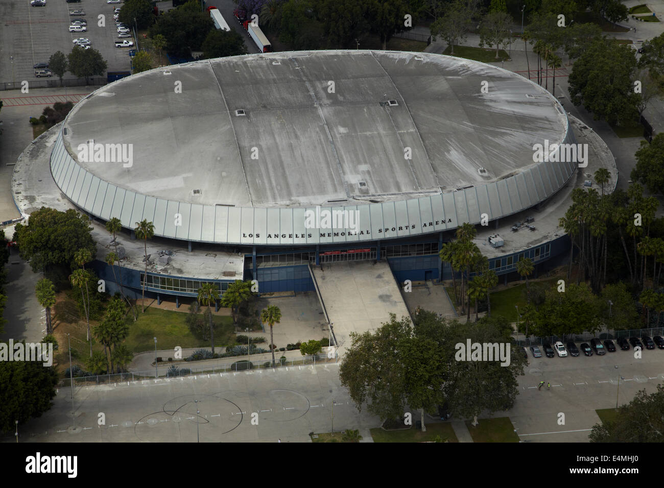 Los Angeles Memorial Sports Arena, Los Angeles, Californie, USA - vue aérienne Photo Stock