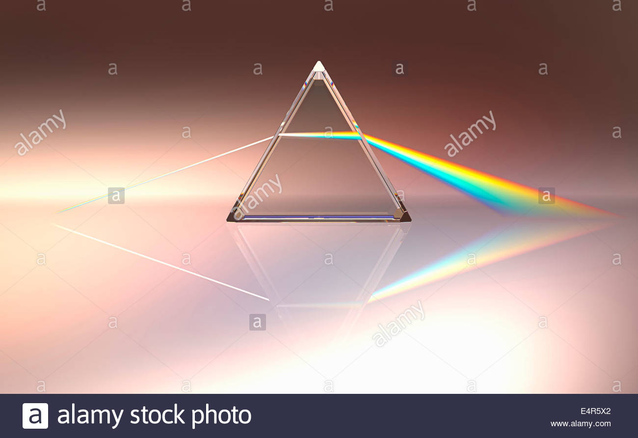 Les faisceaux lumineux perçus à travers prism en couleurs du spectre Photo Stock