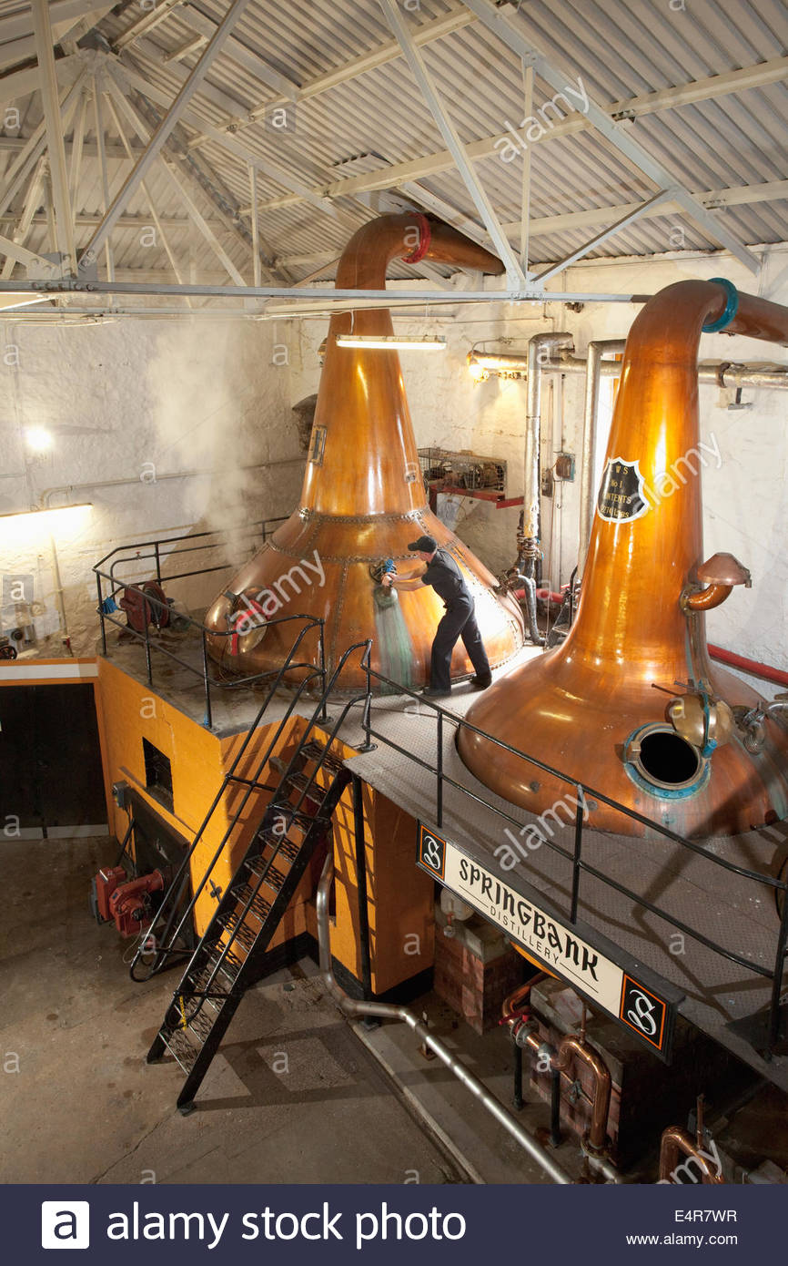La salle encore à la distillerie Springbank, Campbeltown, Argyll, Scotland, Kintyre. Photo Stock