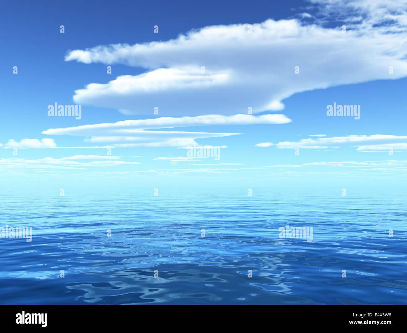 Ciel nuageux Ciel bleu laissant pour horizon Photo Stock