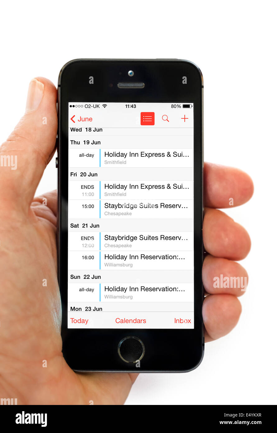 L'application Calendrier sur un Apple iPhone 5S Photo Stock