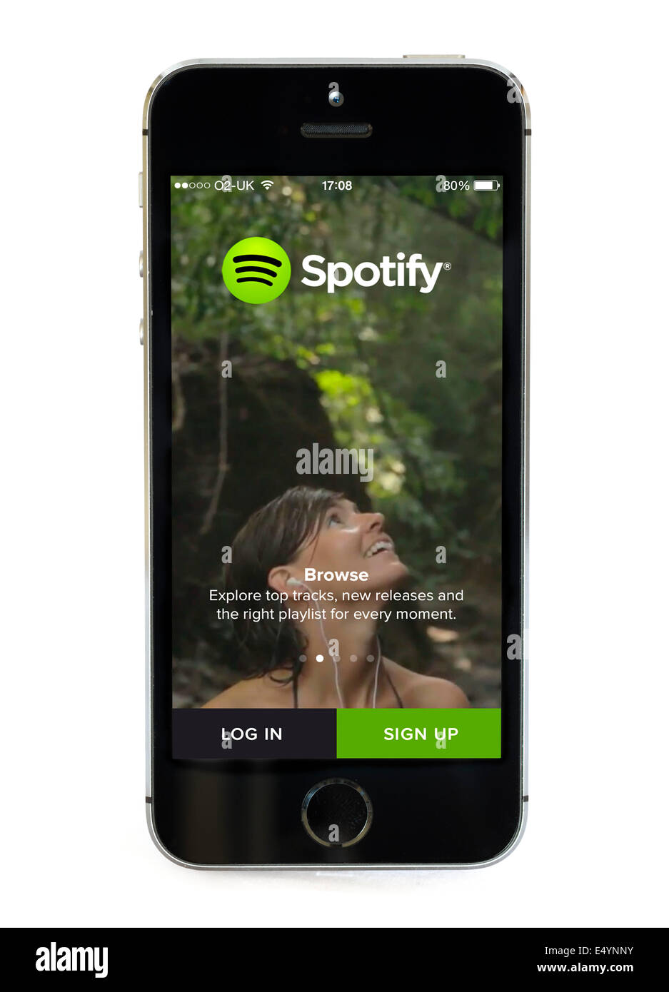 L'application Spotify sur un Apple iPhone 5S Photo Stock
