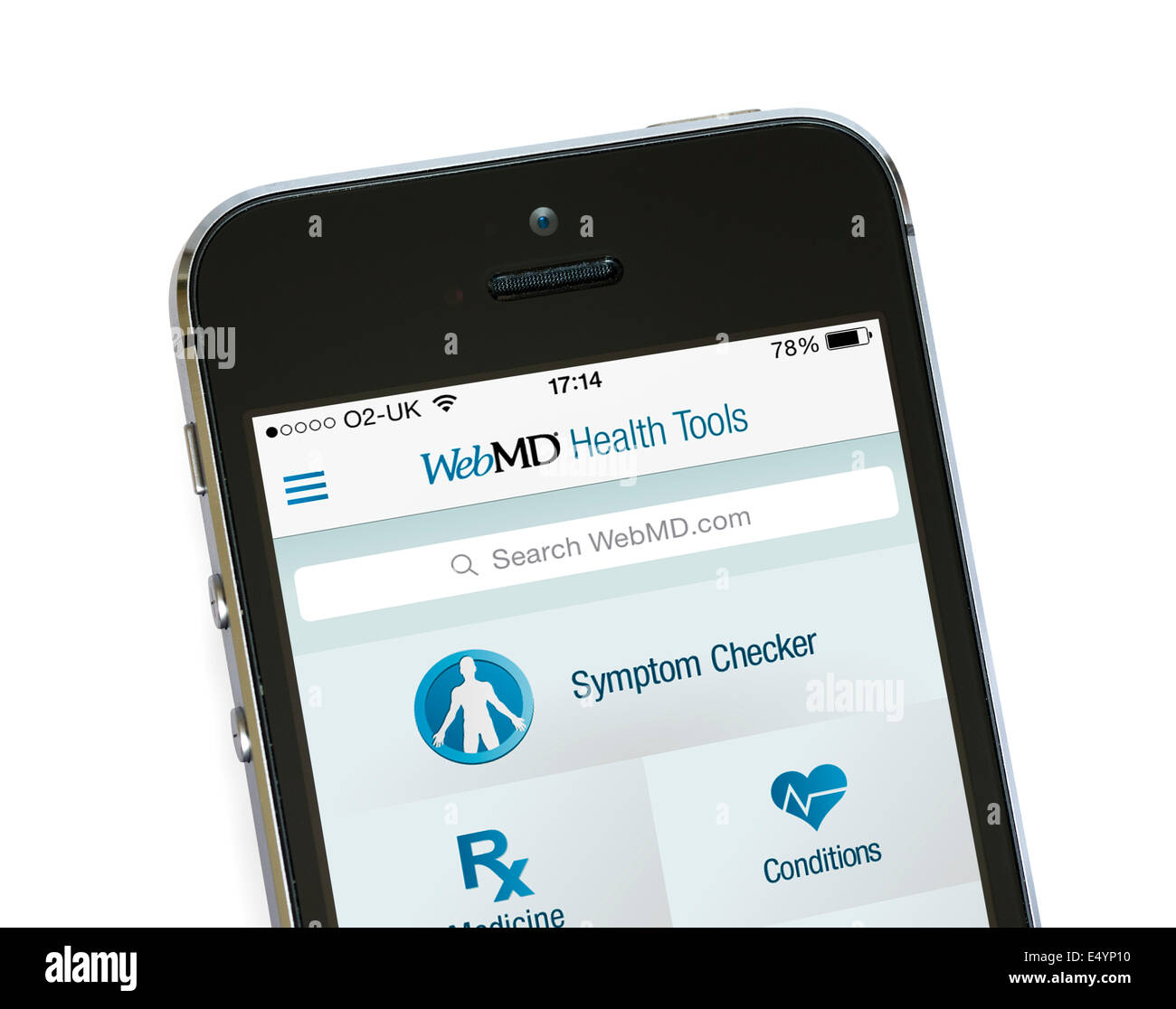 L'app WebMD sur un Apple iPhone 5S Photo Stock