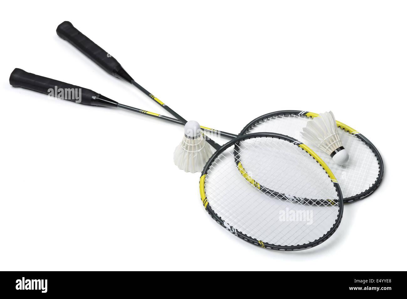 Raquettes de badminton et volants isolated on white Photo Stock