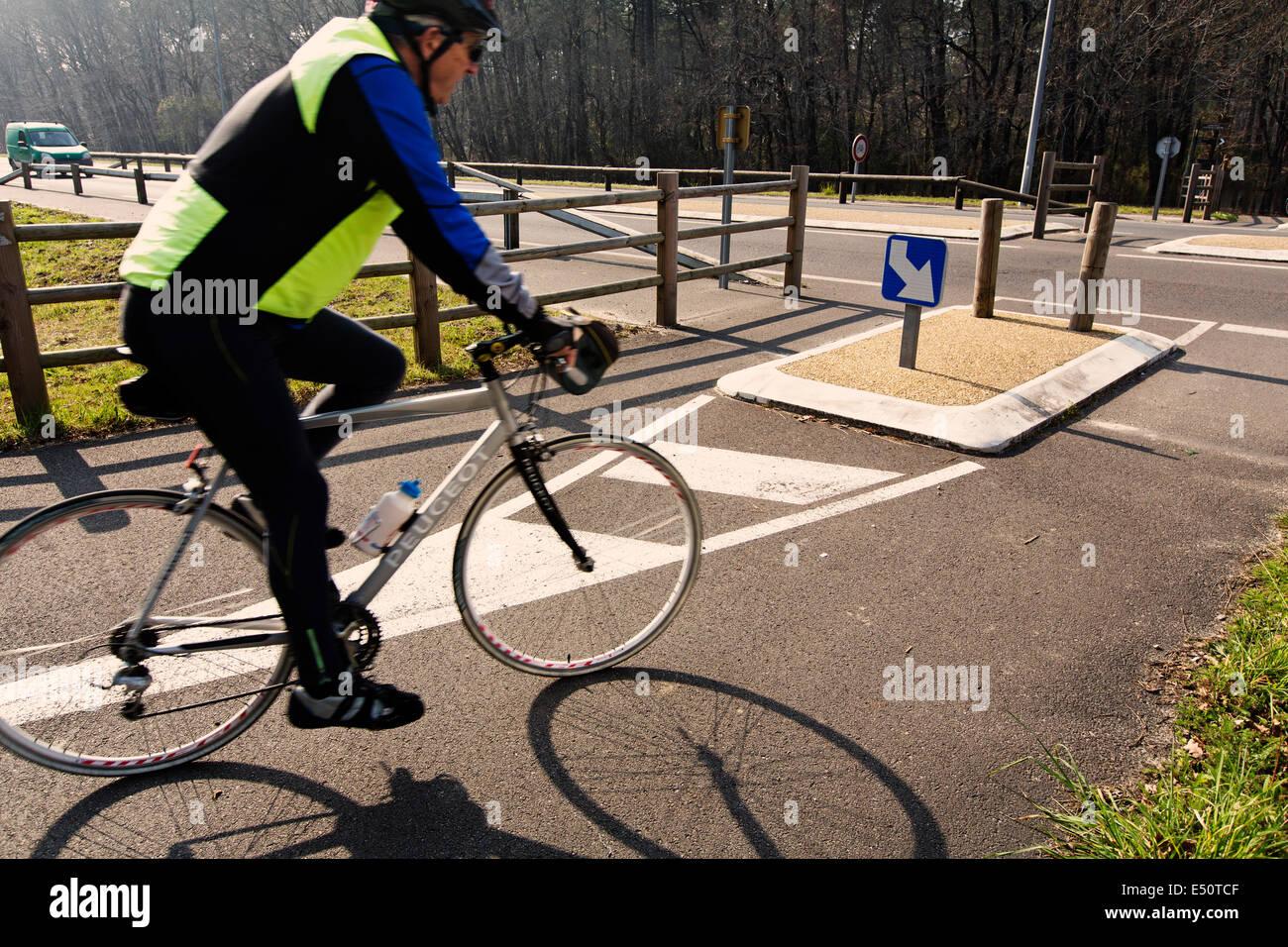 Cycliste sur route, de passage en Gironde Landes Aquitaine France Photo Stock