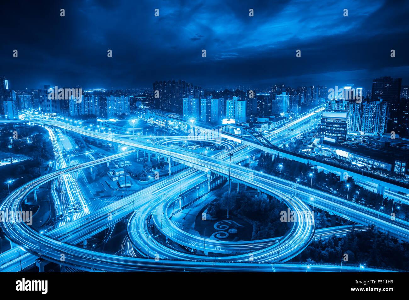 Viaduc d'échange ville Photo Stock