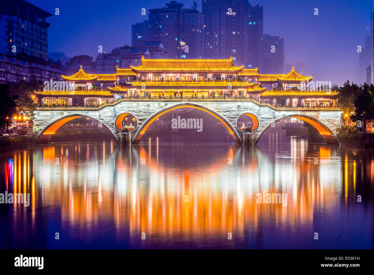 Chengdu, Sichuan, Chine à Pont Anshun. Photo Stock