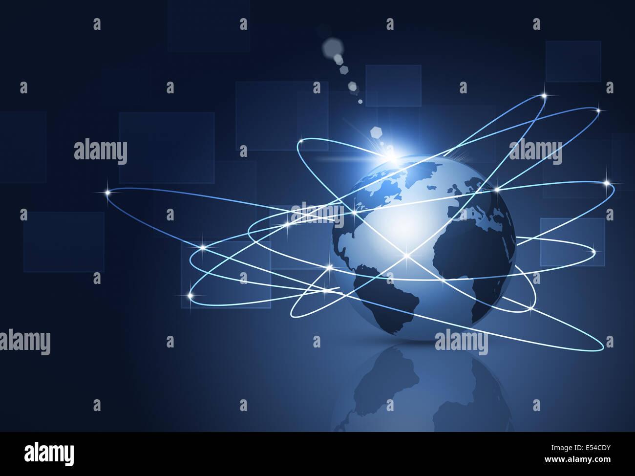 Résumé Les entreprises et technologie concept global connections Photo Stock