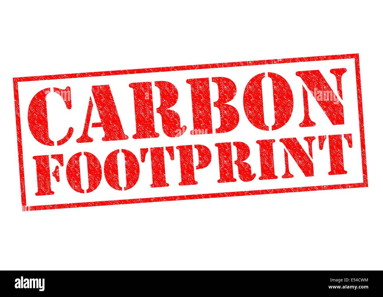 Empreinte carbone de tampon en caoutchouc rouge sur un fond blanc. Photo Stock