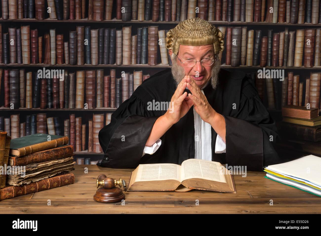 La cour juge en maturité consulting law books Photo Stock