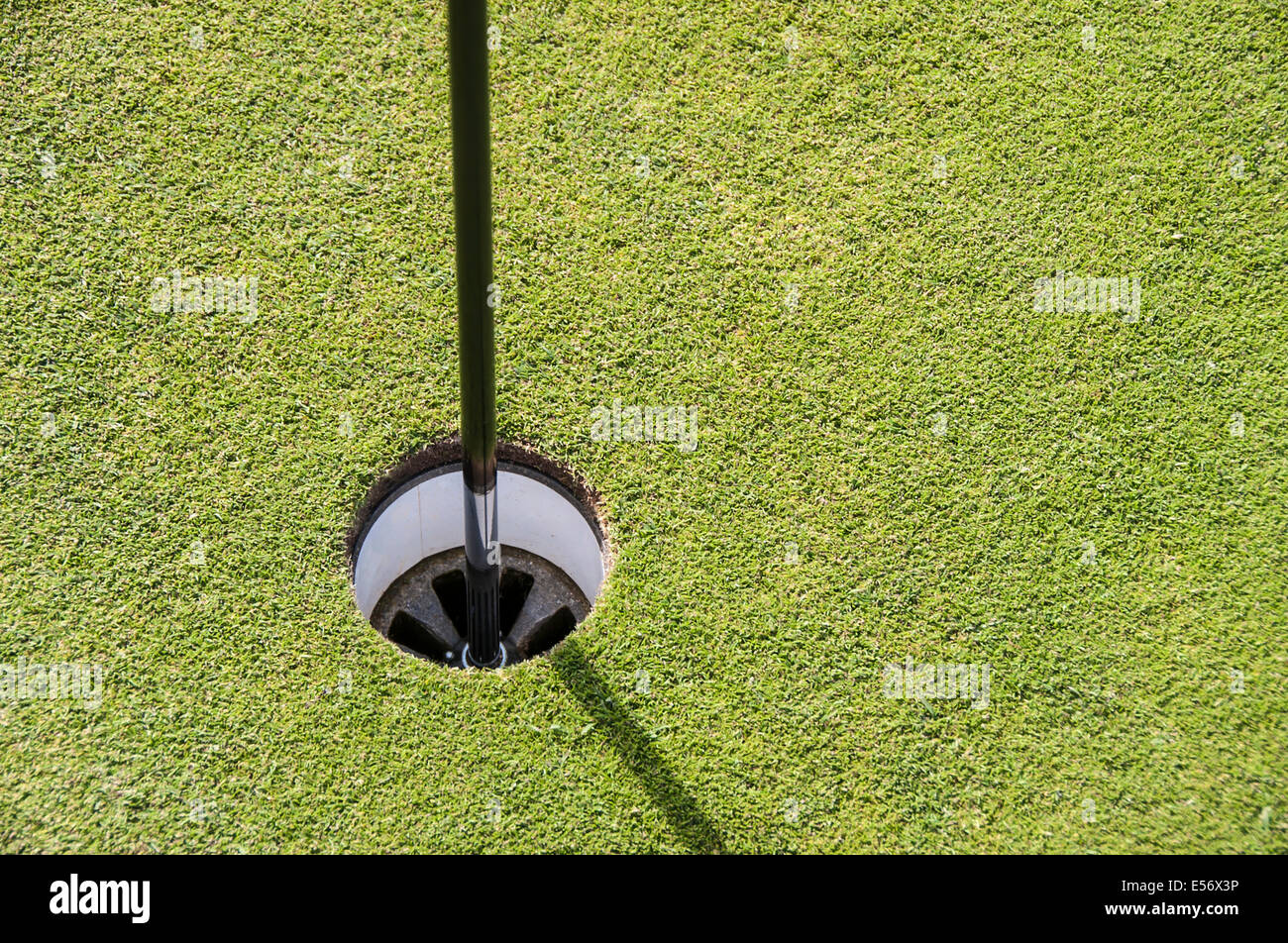 Close-up d'un trou de golf Photo Stock