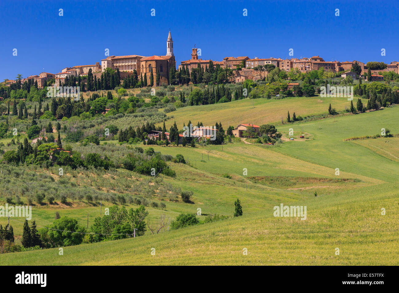 Vue sur Pienza, une commune italienne de la province de Sienne, dans le Val d'Orcia en Toscane (Italie centrale), Photo Stock