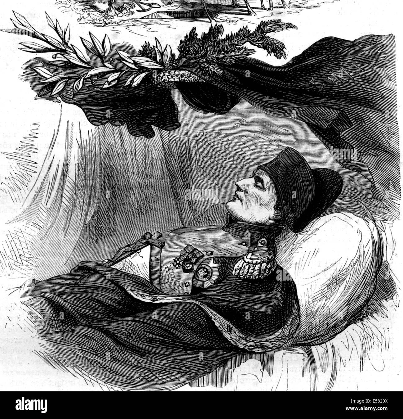 Sur le lit de Napoléon 1er, 5 mai 1821, Longwood, île Sainte Hélène, 1858 Banque D'Images