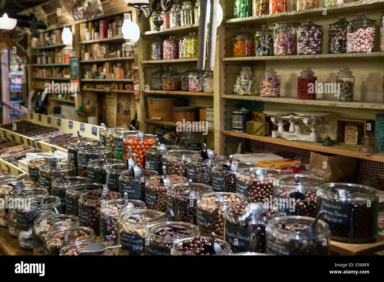 Magasin de bonbons à l'Ohio Country Store, Weston, Vermont, VT, USA Banque D'Images