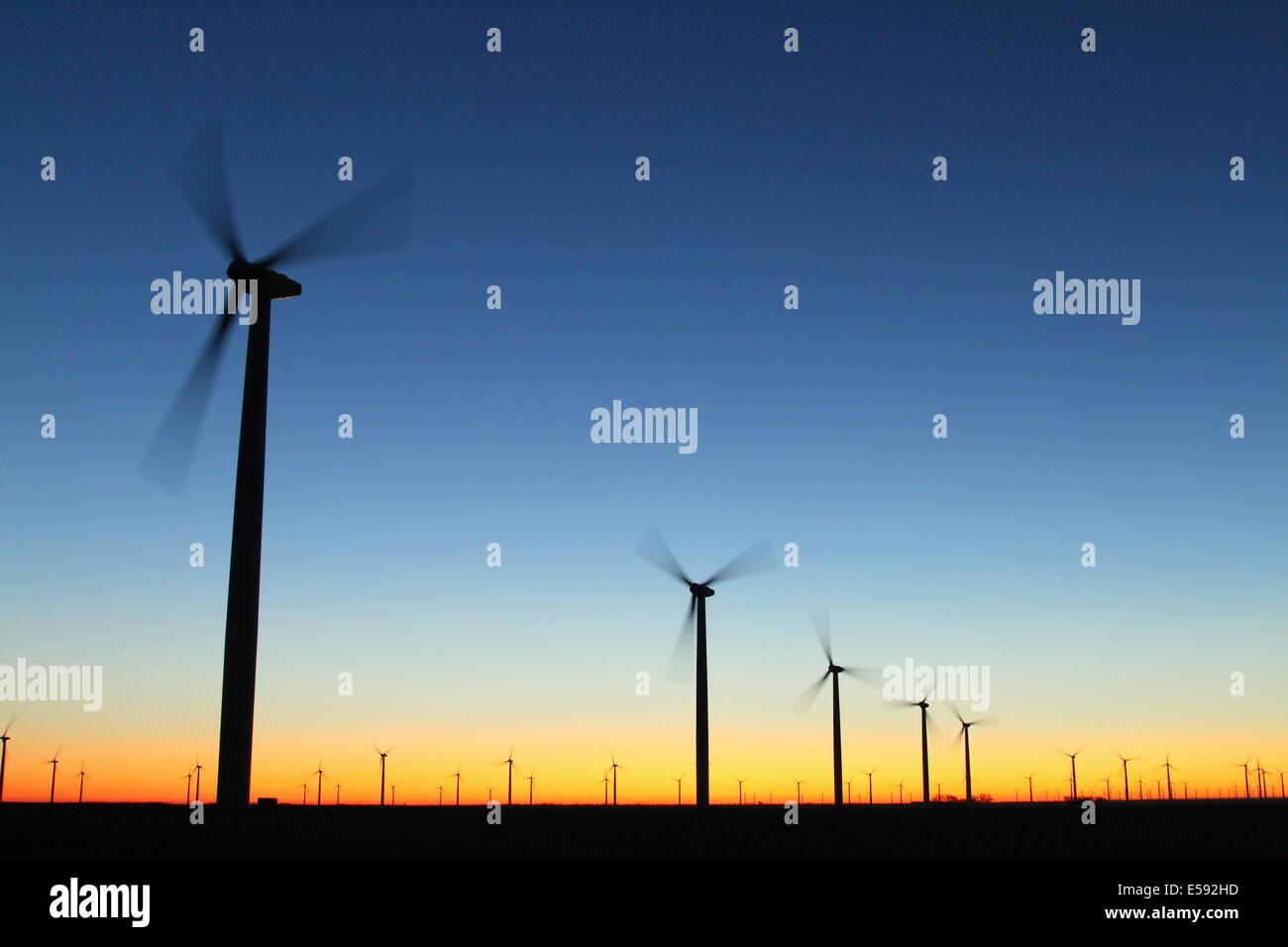 La production d'énergie renouvelable éolienne ferme au crépuscule dans le Texas, USA. Photo Stock