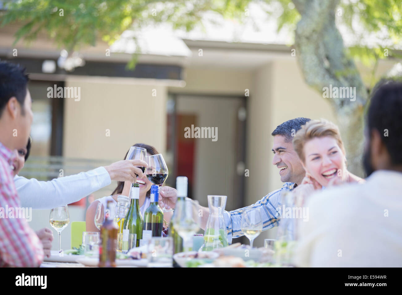 Friends toasting each other at party Photo Stock
