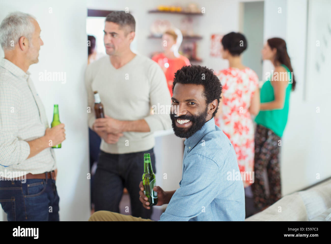 Man smiling at party Photo Stock