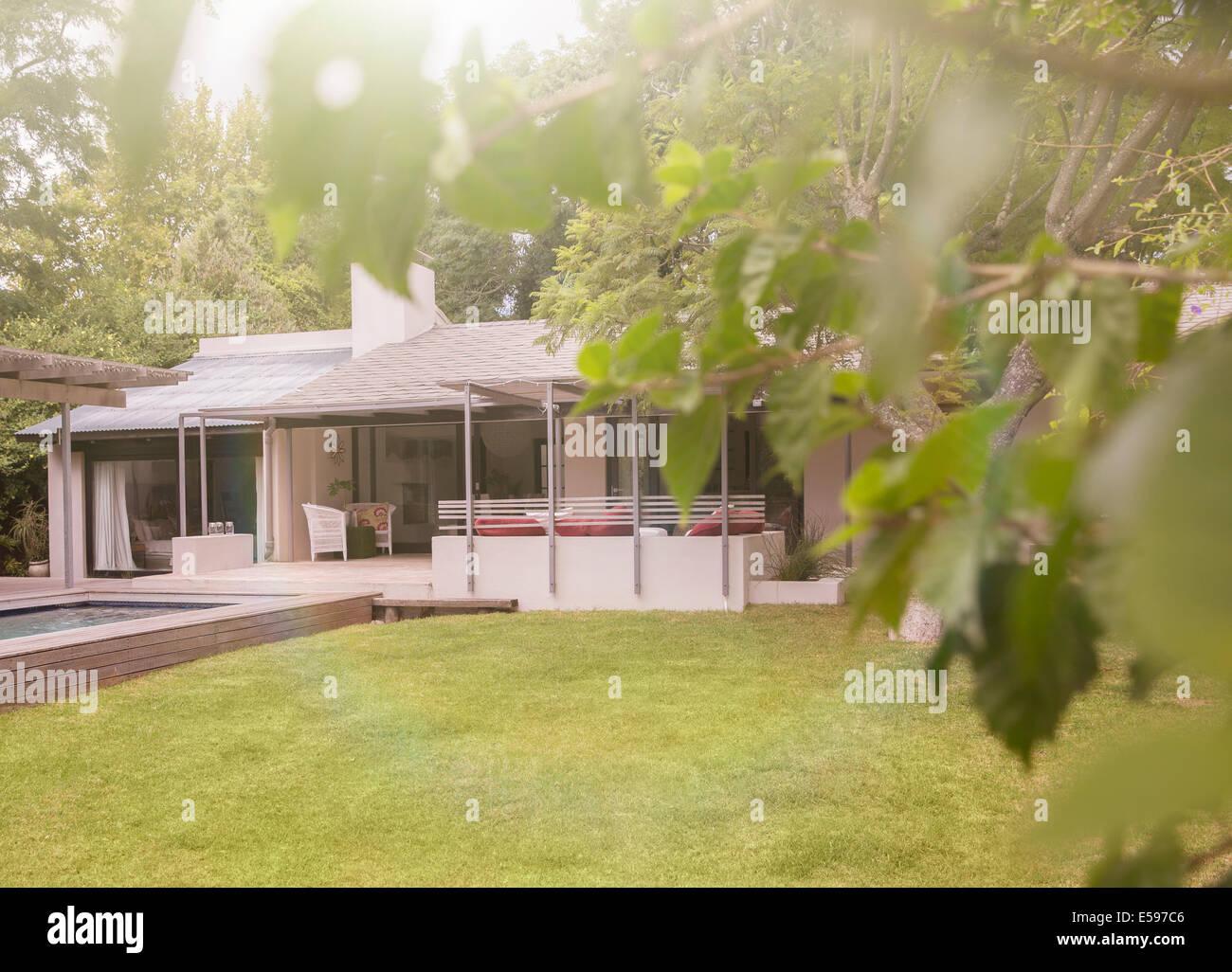 Piscine et pelouse en arrière-cour de maison moderne Photo Stock