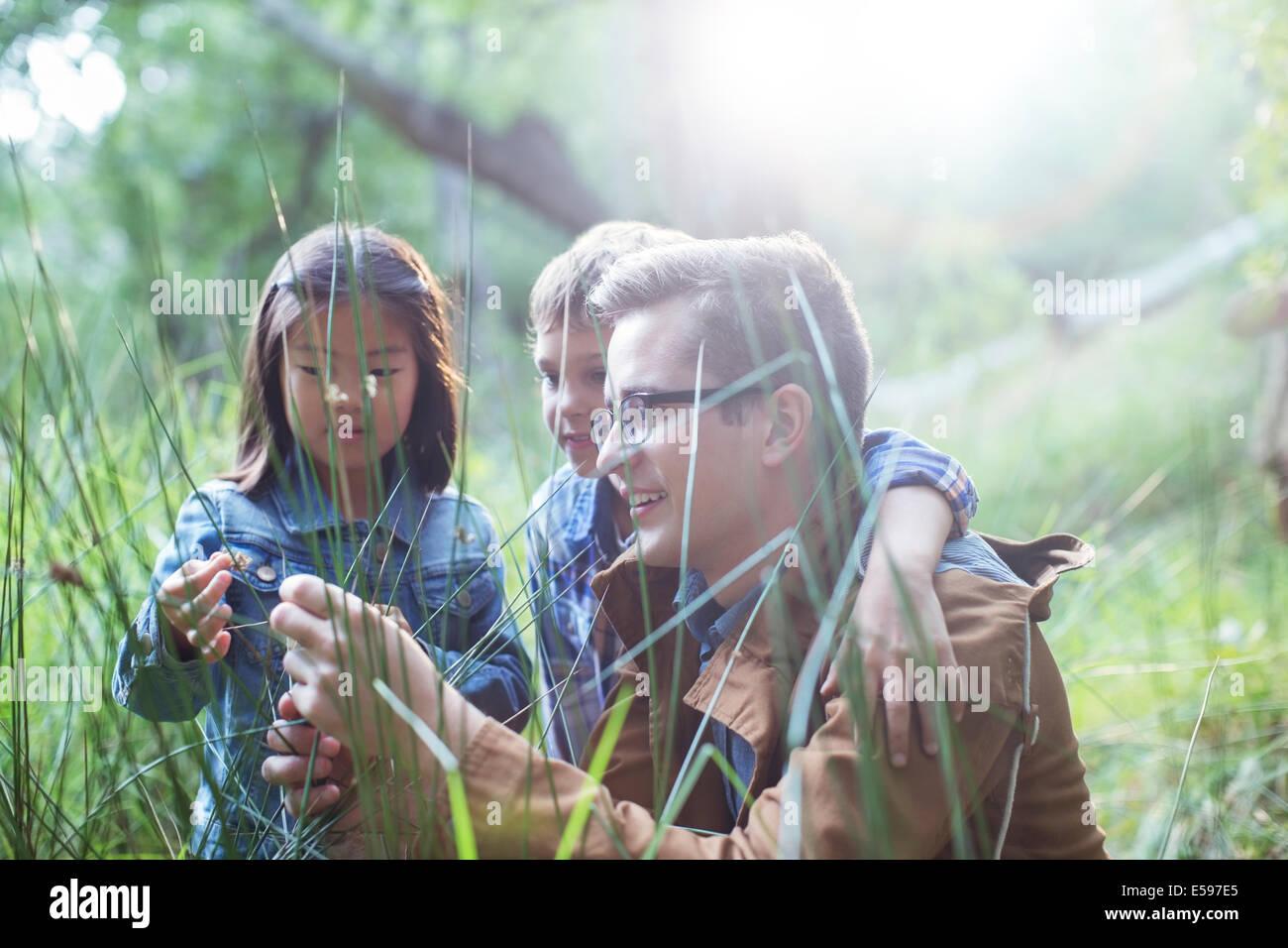 Les élèves et l'enseignant l'examen de l'herbe dans la forêt Photo Stock