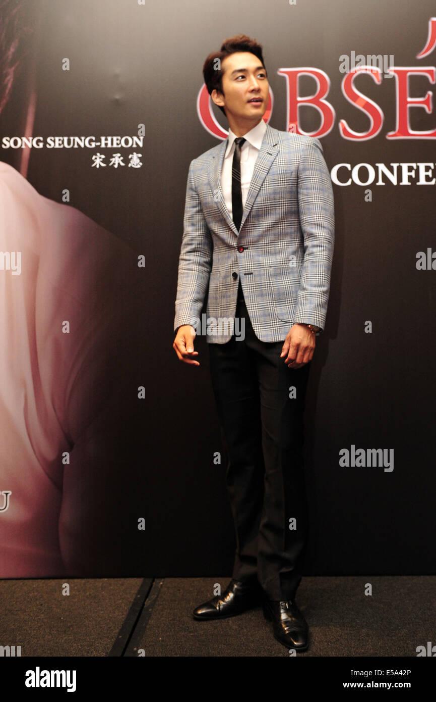 (140725) -- SINGAPOUR, 25 juillet 2014 (Xinhua) -- l'acteur sud-coréen Song Seung-heon assiste à la Photo Stock