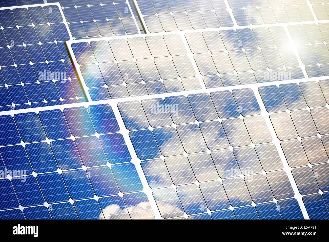 L'énergie renouvelable, illustration d'un des panneaux de cellules solaires Photo Stock