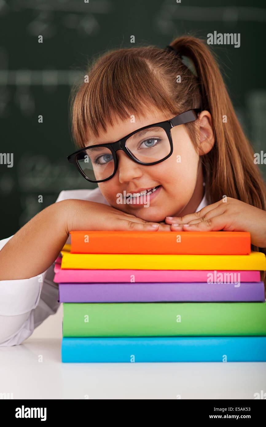 Portrait of cute little schoolgirl, Debica, Pologne. Photo Stock