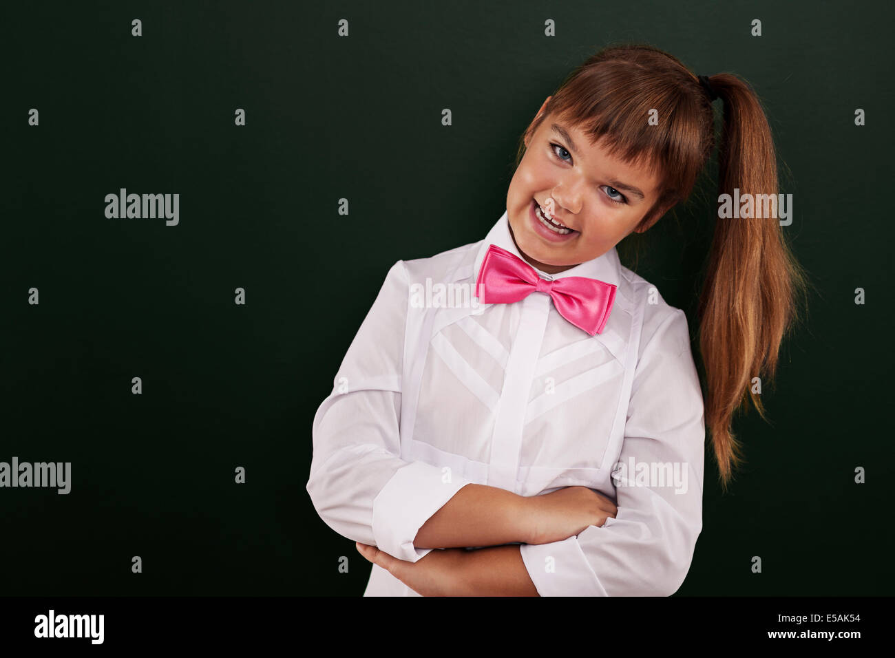 Portrait of cute little schoolgirl, Debica, Pologne Photo Stock