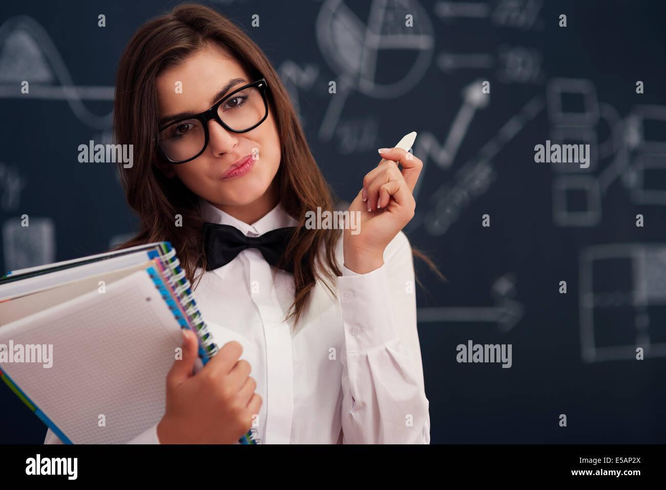 Femme avec les ordinateurs portables et de la craie, Debica, Pologne Photo Stock