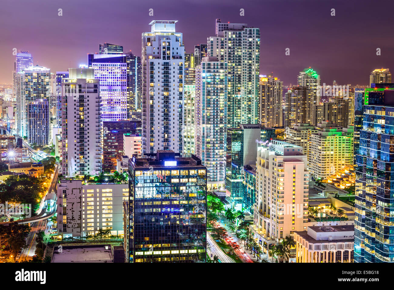 Miami, Floride, USA Centre-ville paysage urbain. Photo Stock