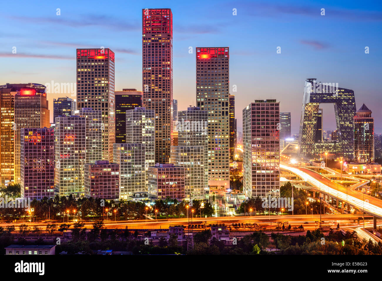 Beijing, Chine skyline at le quartier central des affaires. Photo Stock