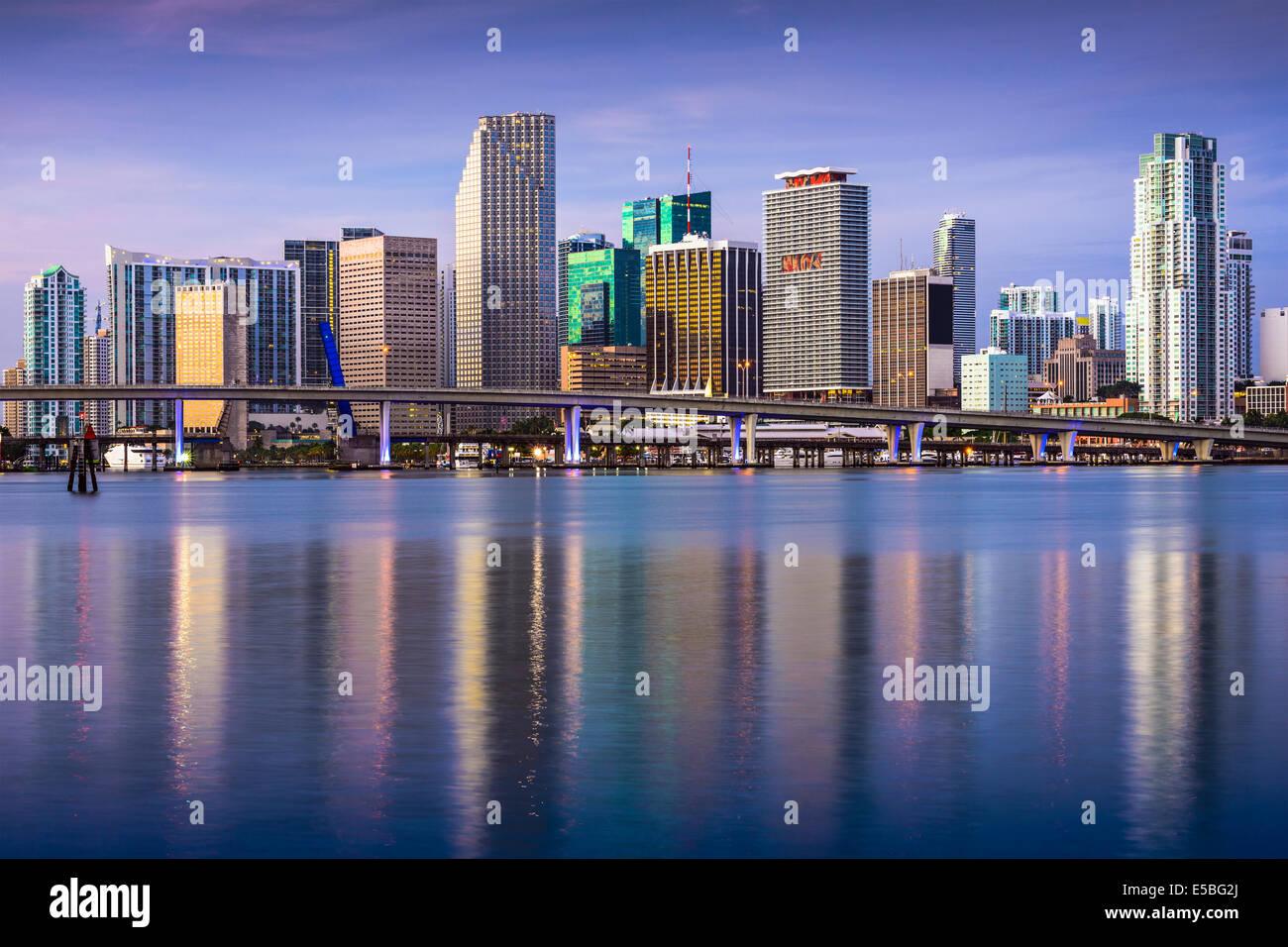 Miami, Floride, USA sur le centre-ville. Photo Stock