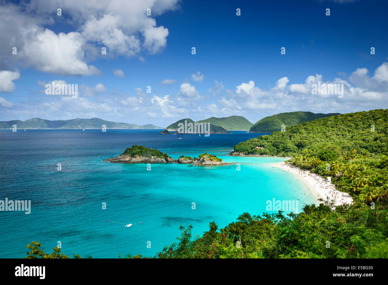 St John, US Virgin Islands à Trunk Bay. Photo Stock