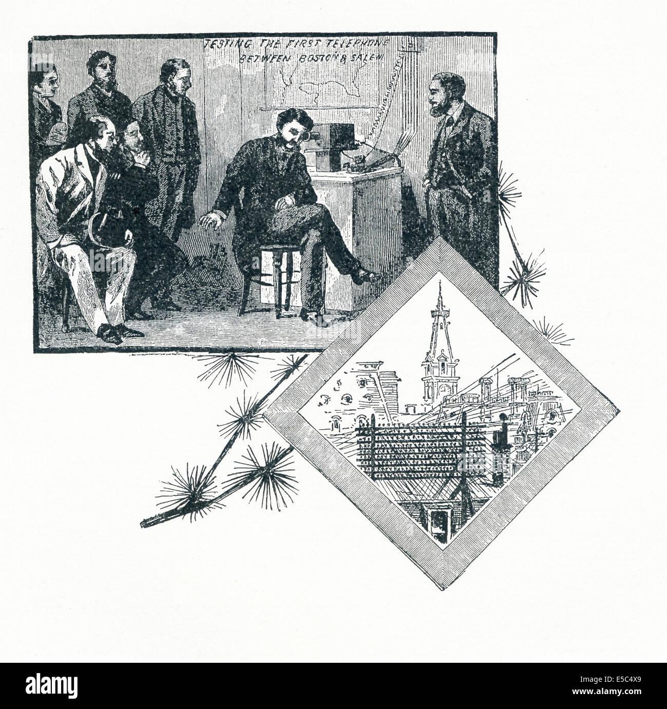 Alexander Graham Bell, à Salem, écoute la voix de son partenaire, Thomas Watson, vient par sa machine Photo Stock