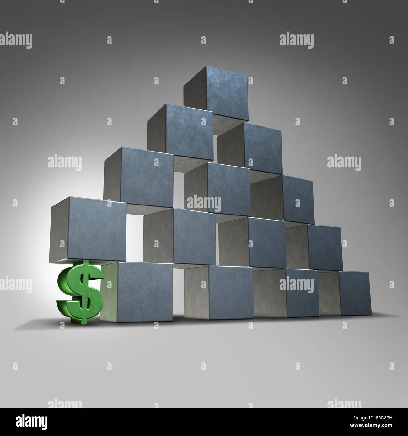 Soutien financier et du concept d'entreprise finances concept comme un signe dollar en trois dimensions représentant Photo Stock