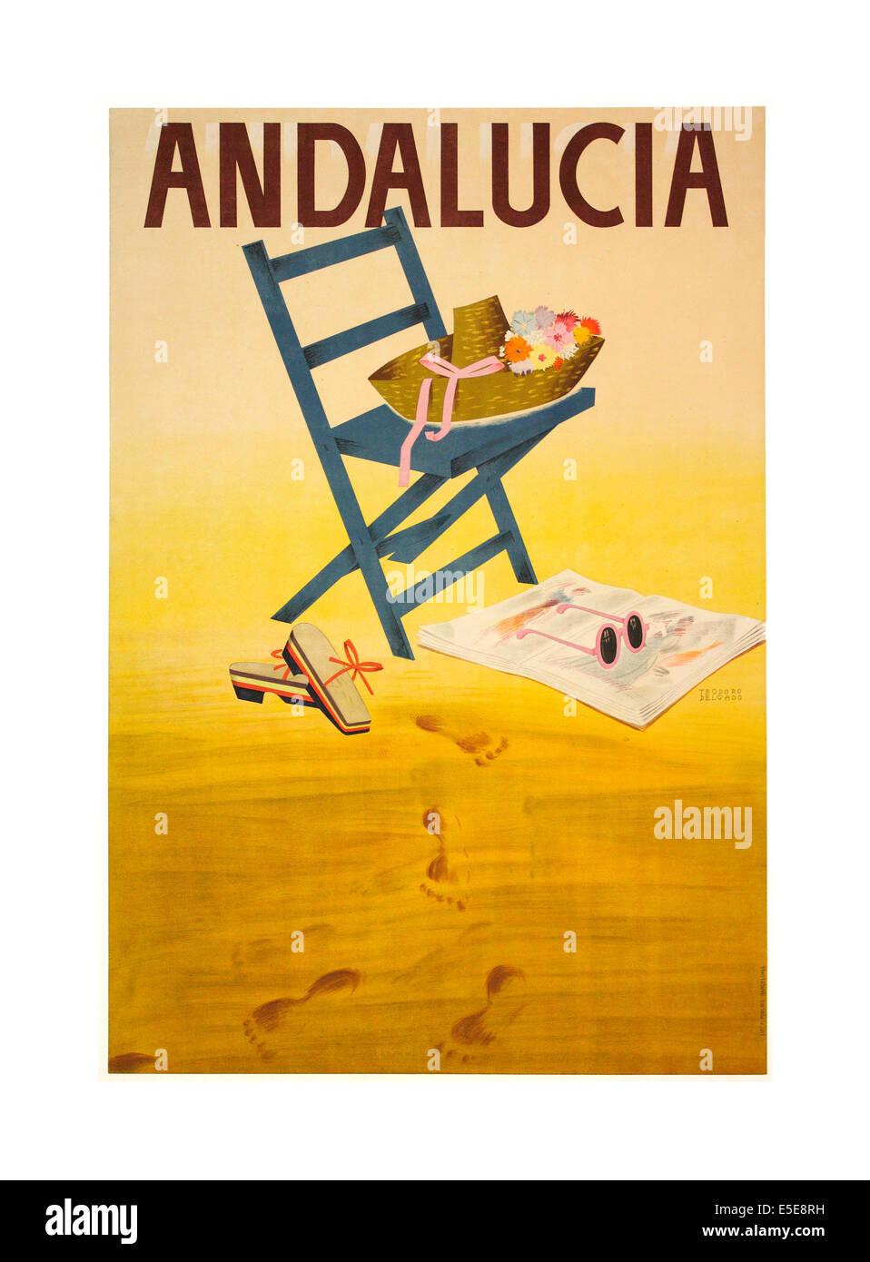Années 1950 vintage voyage affiche pour l'Andalousie Espagne Photo Stock