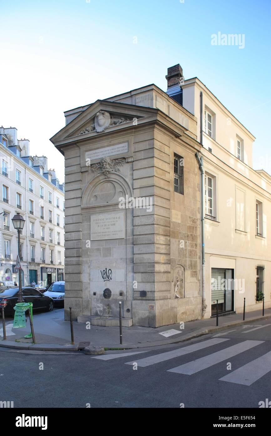 France, ile de france, paris 3e arrondissement, le marais, angle 131 de la rue de Turenne et la rue Charlot, fontaine Photo Stock