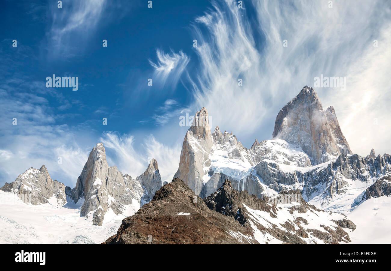 Gamme de montagne Fitz Roy en Patagonie, Argentine Photo Stock