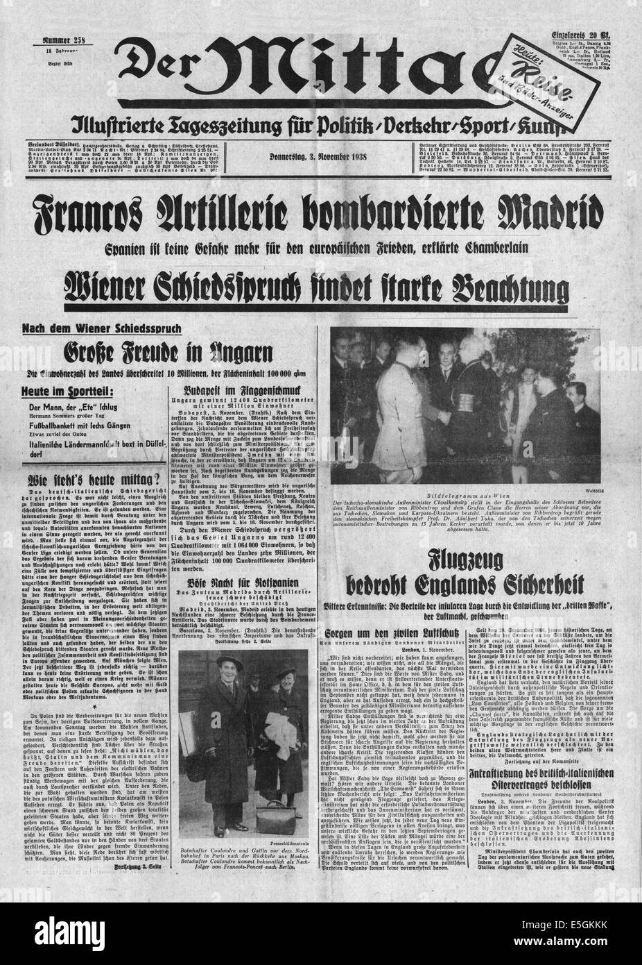 1938 Der Mittag Allemagne Page De Présentation De L