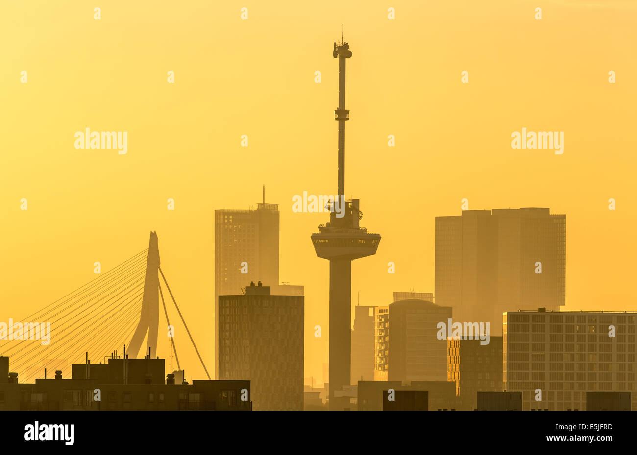 Pays-bas, Rotterdam, Skyline avec Euromast et pont Erasmus. Lever du soleil Photo Stock