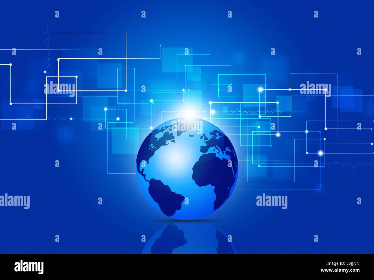 Résumé La technologie et business communications fond bleu Photo Stock