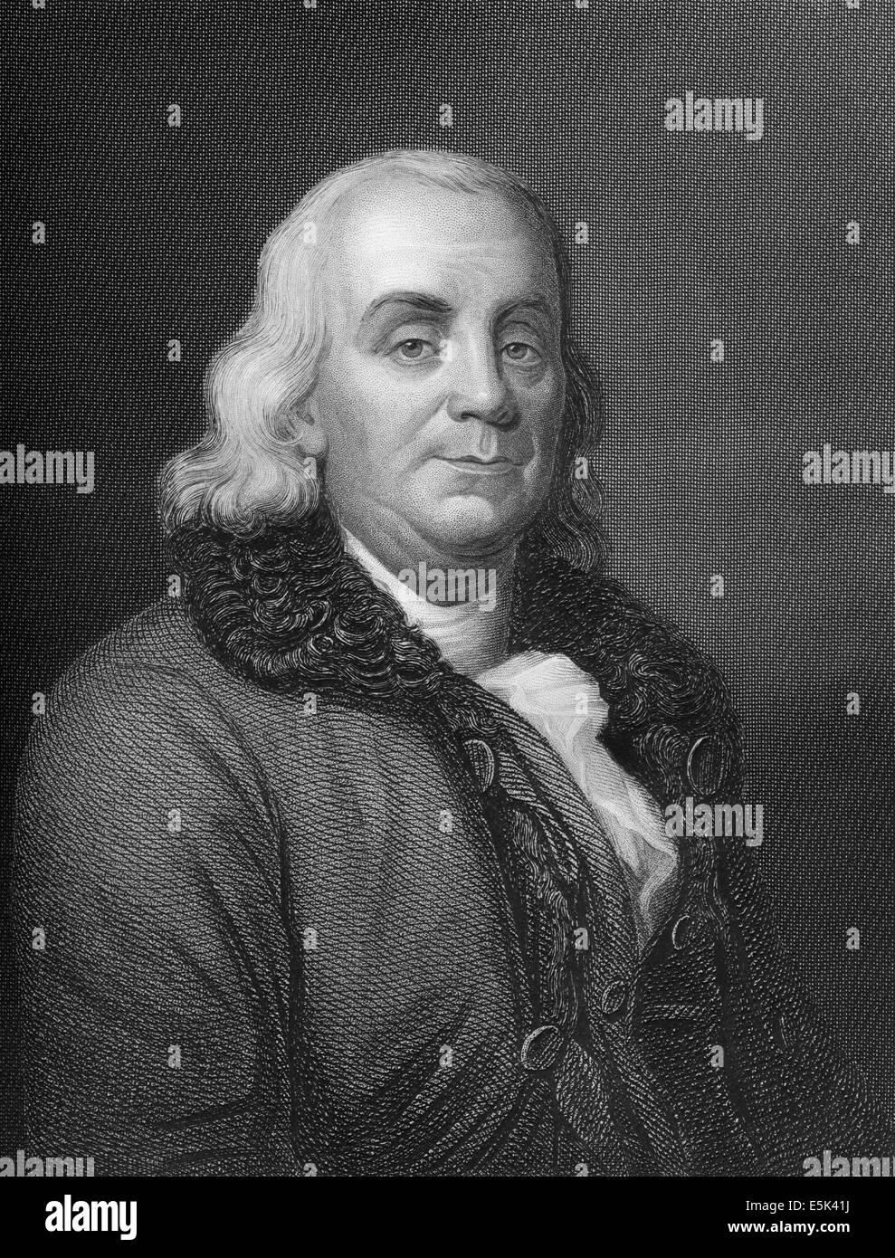 Benjamin Franklin, 1706 - 1790, l'Amérique du Nord un imprimeur, éditeur, écrivain, scientifique, inventeur et homme d'État, Banque D'Images