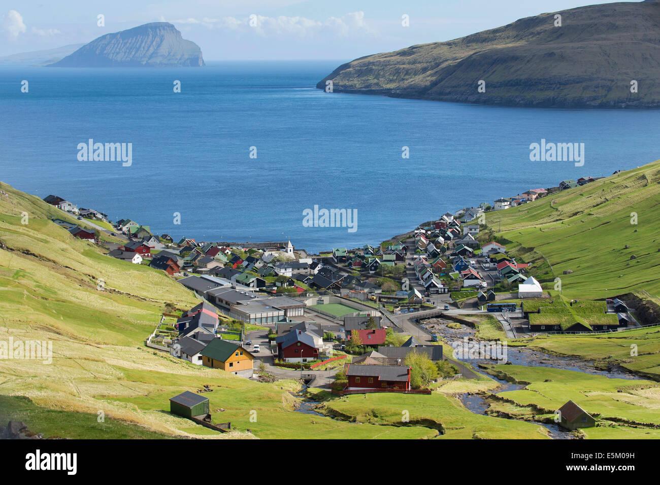 Vue du village de Kvívík, Streymoy, îles Féroé, Danemark Photo Stock