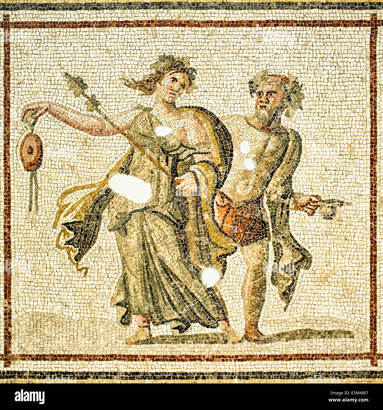 Mosaïque de danseurs bachiques, 2e 100 A.C., Musée archéologique d'Hatay, Antioche, province de Hatay, dans le sud Banque D'Images