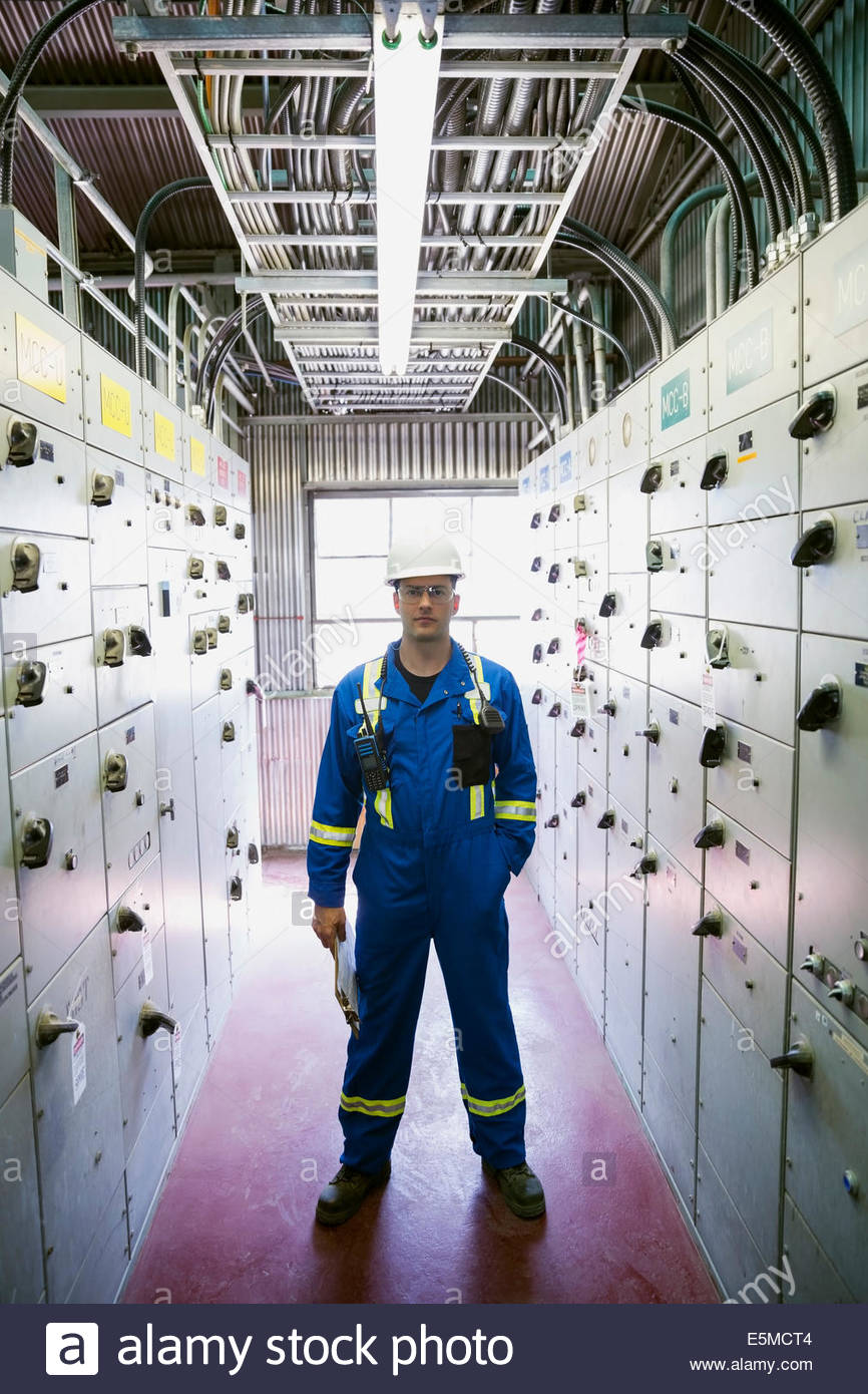 Portrait of male worker in gas plant Photo Stock