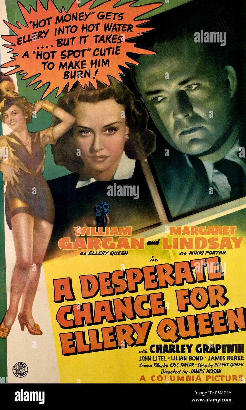 Une chance pour les désespérés Ellery Queen, de gauche, Lilian Bond, Margaret Lindsay, William Gargan, Photo Stock