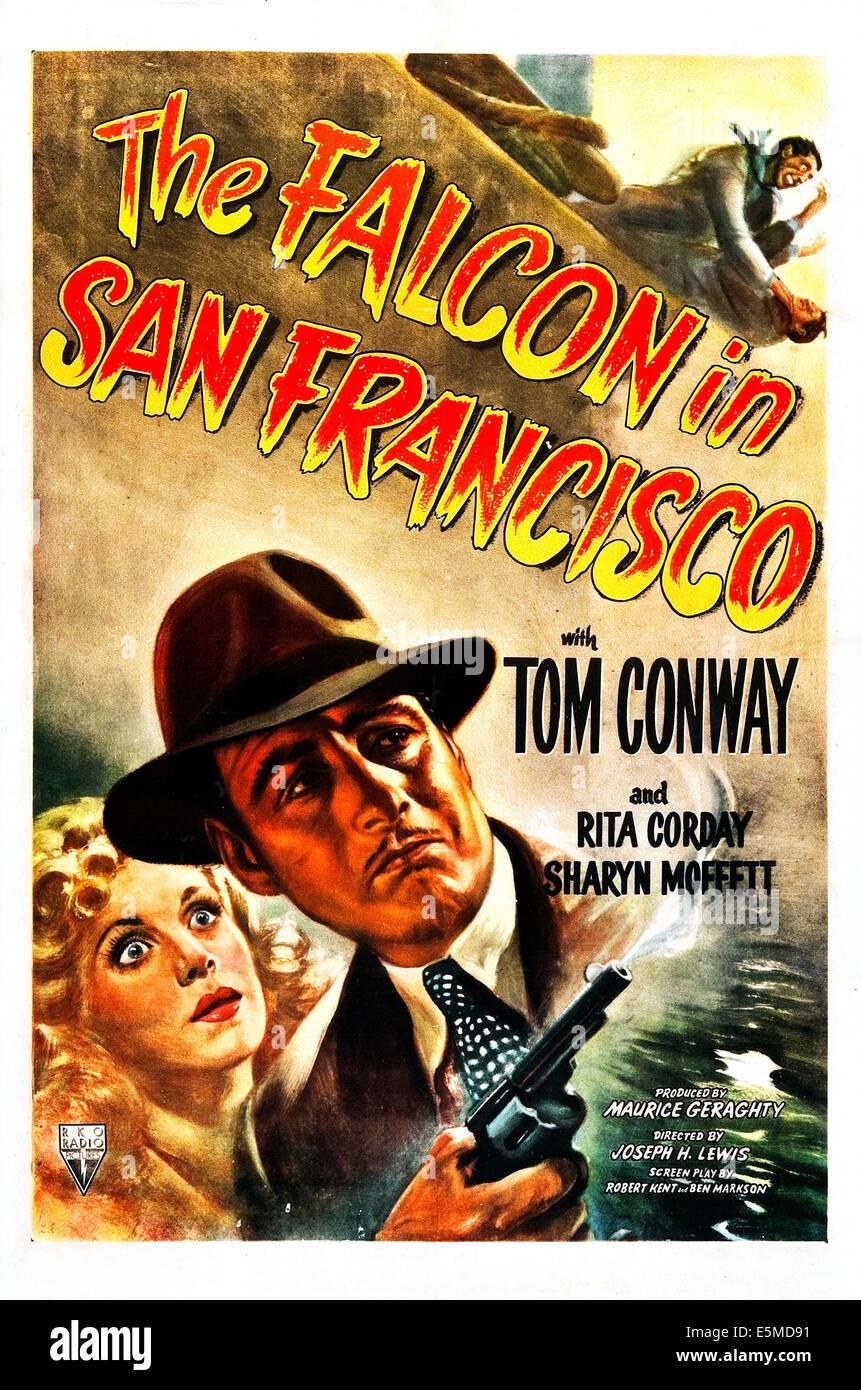 Le FALCON À SAN FRANCISCO, Etats-Unis, de l'affiche à partir de la gauche: Rita Corday, Tom Conway, 1945 Banque D'Images