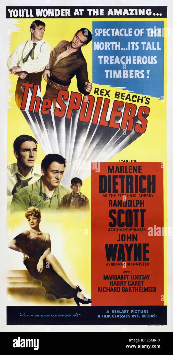 Les déporteurs, US l'affiche, en haut à gauche: Randolph Scott, John Wayne; milieu: Randolph Scott, John Wayne, Harry Carey; bas Banque D'Images