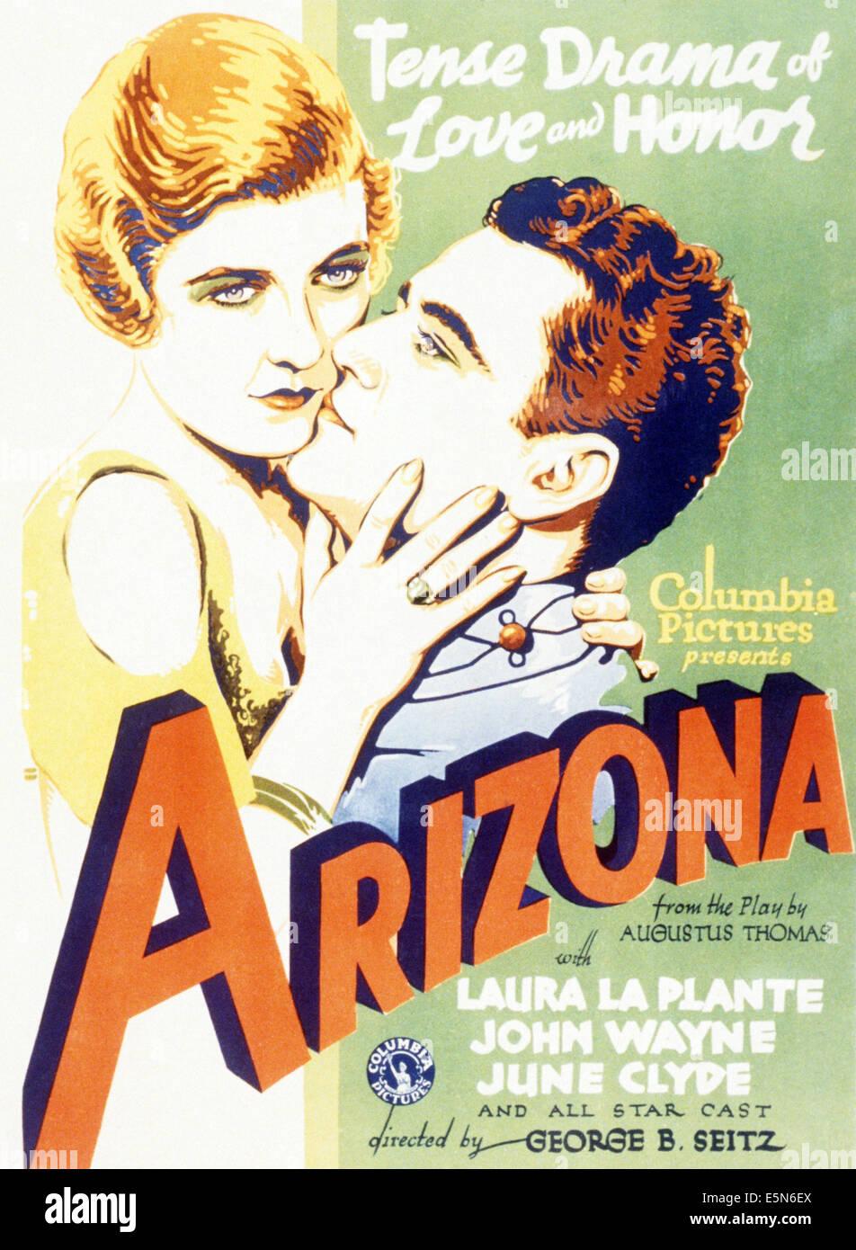 L'ARIZONA, de gauche à droite: Laura La Plante, John Wayne, 1931 Photo Stock